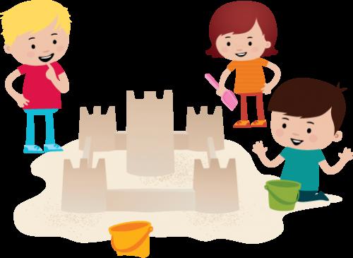 Illustrasjon: tre barn bygger sandslott