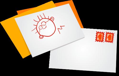 illustrasjon av en konvolutt og et kort med barnetegning